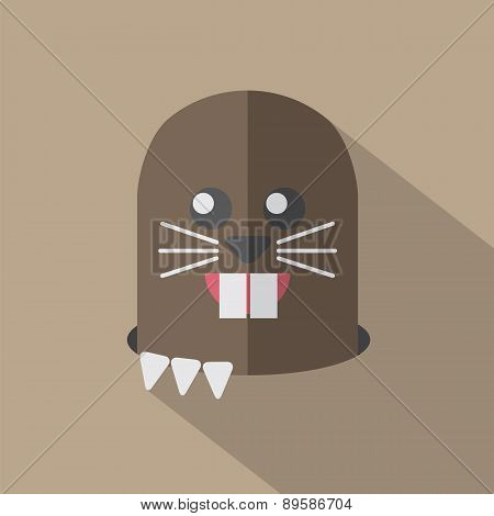 Modern Flat Design Mole Icon.