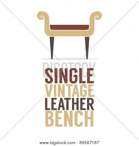 Single Vintage Leather Bench On White Background.