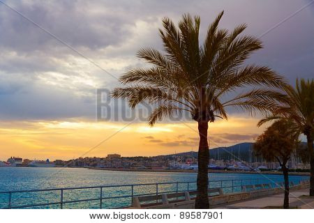 Palma de Mallorca sunset at port in Majorca Balearic islands of Spain