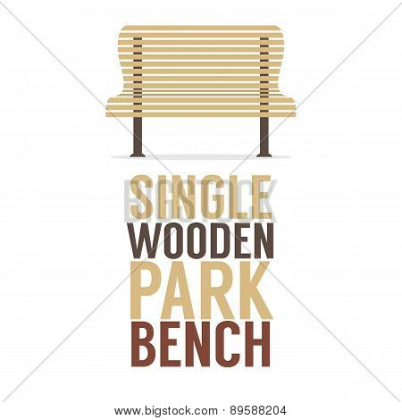 Single Wooden Park Bench On White Background.