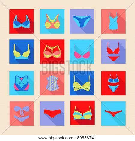 Fashion Different Types Icons Of Bras And Pants