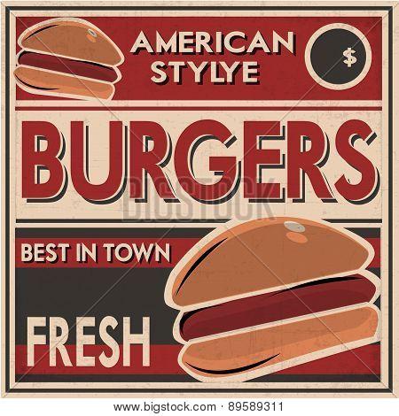 Retro Burgers Poster