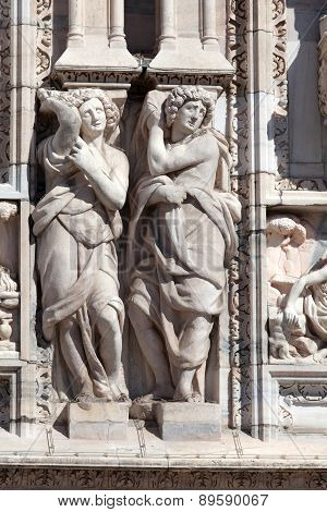Statues Decorating The Exterior Of The Milan's Duomo