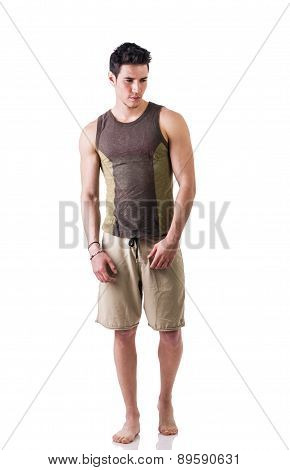 Full length shot of handsome guy isolated in white