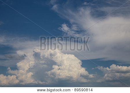White Cloud And Blue Sky Background Image.
