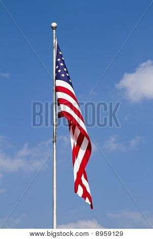 US Flag on Pole with Vivid Colors