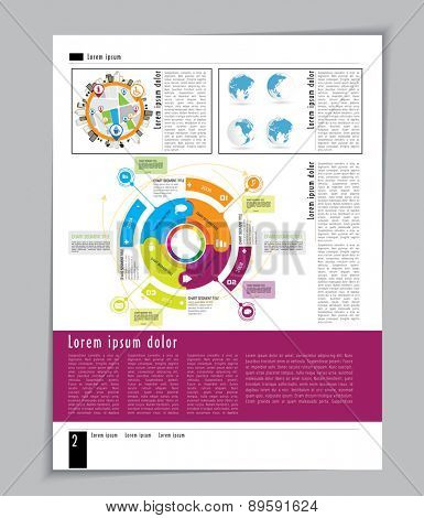 Magazine Layout Design Template, Vector
