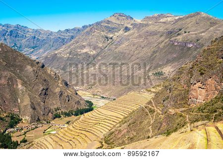 Peru, Pisac - Inca ruins in the sacred valley in the Peruvian Andes