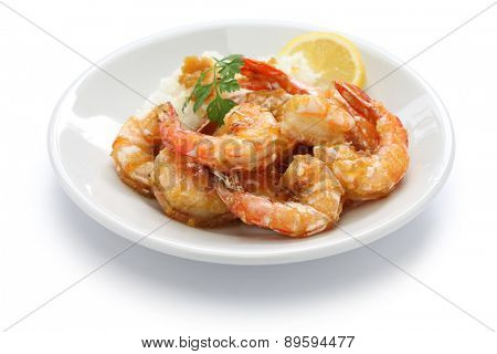 garlic shrimp, hawaiian food isolated on white background
