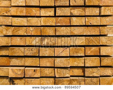 wooden beams arranged in layers