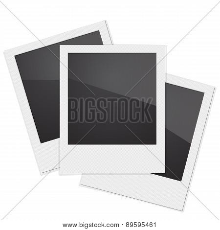 Set Retro Photo Frame Polaroid  On White Background. Vector illu