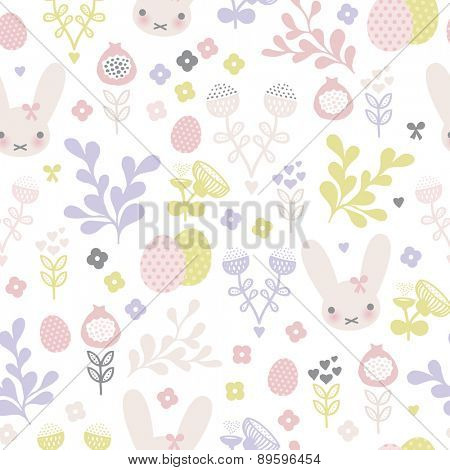 Seamless pastel bunny spring blossom and easter eggs illustration background pattern in vector