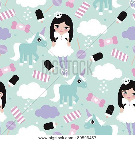 Seamless princess lollipop candy clouds and unicorn fantasy illustration pattern for girls background pattern in vector
