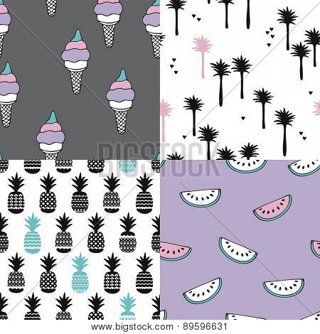 Seamless tropical summer modern background pattern illustration set with ice cream palm trees water melon and pineapple in vector