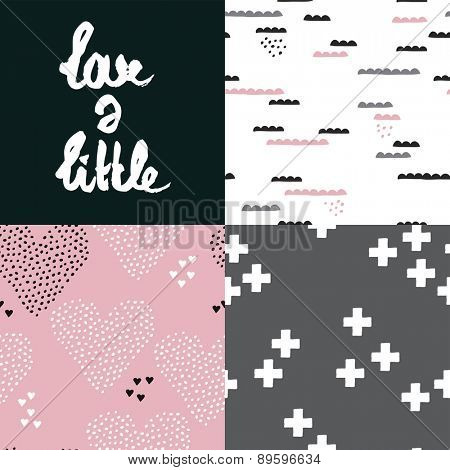 Seamless love a little poscard hand lettering and abstract geometric love hearts and clouds background pattern in vector