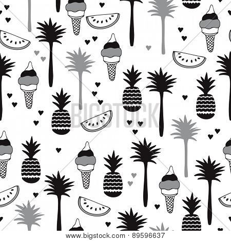 Seamless modern black and white trendy summer background pattern with pineapple palm trees water melon and ice cream illustration in vector