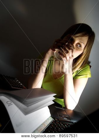 Secretary Working Till Late