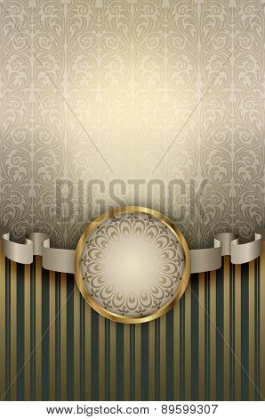 Decorative Background With Vintage Patterns And Ribbon.