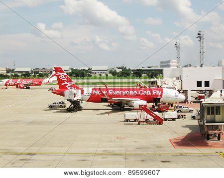 BANGKOK, THAILAND - OCTOBER 18, 2013: Aircraft on airfield of airport Don Muang.