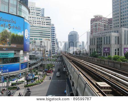 BANGKOK, THAILAND - OCTOBER 30, 2013: railway line of BTS Skytrain in city centre.