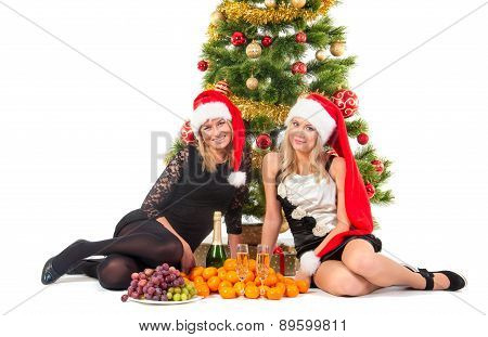 Beautiful blond smiling women with chrismas tree