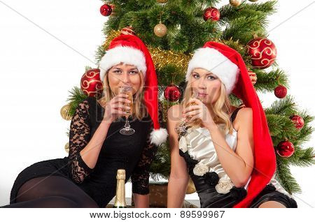 Beautiful blond smiling women with christmas tree
