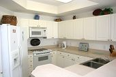 image of kitchen appliance  - nice white modern kitchen with new appliances - JPG