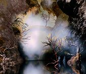 pic of fantasy world  - 3D illustration of fantasy landscape of a lake in a cave with a bridge in the background and cloudy sky - JPG