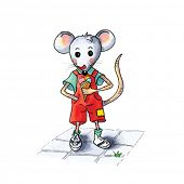 foto of mouse  - funny little mouse boy with ice cream isolated over white background - JPG