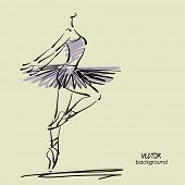 foto of tutu  - art sketched beautiful young ballerina with tutu in pose of dance - JPG