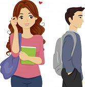picture of pre-adolescent girl  - Illustration of a Teen Girl Student Looking over to Someone she Likes - JPG