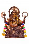 stock photo of camphor  - idol of Hindu god Ganesha isolate on white background - JPG