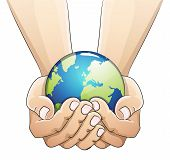 stock photo of save earth  - Hands holding the earth globe on white background - JPG