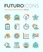 image of seminar  - Line icons with flat design elements of business people organization human resource management company seminar training career progress - JPG