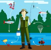 stock photo of overalls  - Fisherman in overalls with a fishing rod on the riverbank - JPG