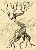 stock photo of dead-line  - Grunge sketch of a stylized dead tree hand drawn illustration - JPG