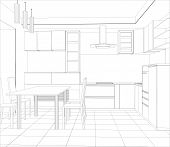 foto of interior sketch  - Abstract sketch design interior kitchen - JPG