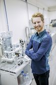 stock photo of mechanical engineer  - Engineer working in the lab of a factory - JPG