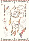 stock photo of dream-catcher  - Hand drawn native american dream catcher beads and feathers vector illustration - JPG