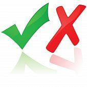 pic of check mark  - Glossy illustration showing a green check mark and a red X - JPG