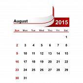 picture of august calendar  - Vector simple calendar 2015 year august month - JPG