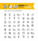 picture of meat icon  - Food line icons including - JPG