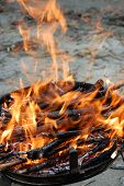 picture of braai  - Fire for barbecue which uses only wood and charcoal - JPG