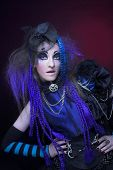 pic of gothic  - Portrait of young woman posing in gothic image - JPG