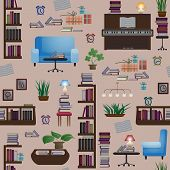 picture of pews  - Seamless pattern with books and furniture - JPG