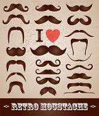 stock photo of moustache  - Moustaches set - JPG