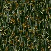 image of brocade  - seamless floral damask brocade pattern background vector - JPG