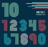 stock photo of funky  - Retro stripes funky numbers set - JPG