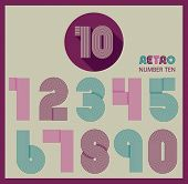foto of funky  - Retro stripes funky numbers settrendy elegant retro style design - JPG