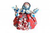 stock photo of rag-doll  - Ukrainian traditional motanka doll Isolated on white background - JPG